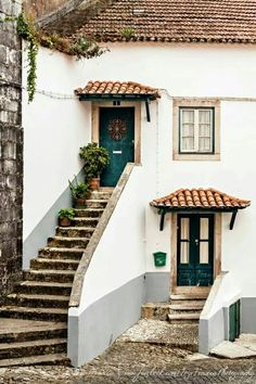 Typical house in romantic Portugal. Long the home of Portugal's monarchs, Sintra is a magnificent town of marvelous historic mansions, all set against the backdrop of lush hills. Sintra Portugal, Ericeira Portugal, Visit Portugal, Portugal Travel, Spain And Portugal, The Places Youll Go, Places To Go, Stairways, Portuguese