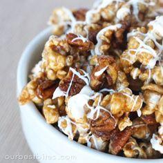 Cinnamon Bun Flavored Popcorn + 21 other yummy recipes!! #popcorn #cinnamonbun #weddingreception