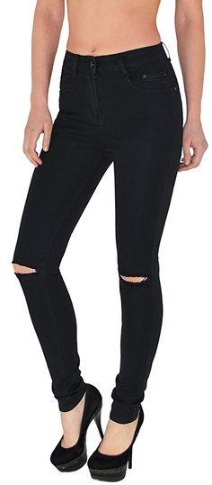 Damen Jeans Hosen Damen High Waist Jeanshosen Risse am Knie Skinny Stretch Hochschnitt Hose Z72 Black Jeans, Skinny, High, Pants, Fashion, La Mode, Woman, Trouser Pants, Moda