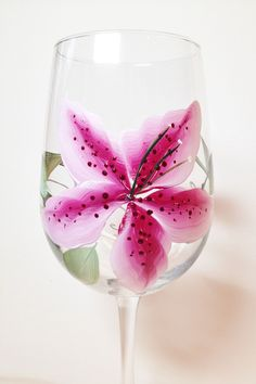 Hand painted 16oz. Pink Lily Clear Wineglass.  Perfect for your favourite wine.  Great for Mother's Day, Birthdays, Teacher's gifts by CCCraftsatHome on Etsy