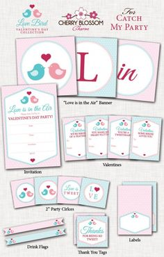 Free printables Valentine's Day party set! See more free printables and party ideas at CatchMyParty.com. #freeprintables #valentinesday