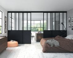 Crittall windows separating two areas. Great idea for splitting up a bedroom and bathroom in a loft conversion. Modern Interior Design, Interior Architecture, Steel Doors And Windows, Suites, Internal Doors, Interior Walls, Small Apartments, Sliding Doors, House Design