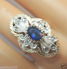 Antique Georgian Sapphire Engagement Ring 18K Multi-tone Gold Ring SZ 6.25 UK-M
