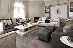 Custom coffee table and full feature wall fireplace Fireplace Wall, Common Area, Living Room Inspiration, Service Design, Family Room, Couch, Modern, Furniture, Living Rooms