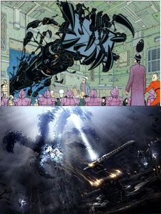 Jodorowsky - Before the Incal - The 'Supra-Divinoid', a powerful AI controlling human society - bursts his giant robot hand into human affairs to directly manipulate the balance of power and maintain the status quo at a pivotal moment. Robot Hand, Status Quo, Mythology, Affair, War, In This Moment