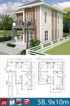 House Plans Design with 5 bedrooms - SamPhoas Plan Building Design Plan, Plan Design, Duplex House Plans, Tiny House Plans, Contemporary House Plans, Modern House Plans, North Facing House, 4 Bedroom House Designs, Modern Bungalow House