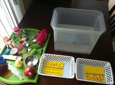 which Float and Sinks?. I used a big clear tub so it can be clearly seen if the objects will be floating or sinking in the water.