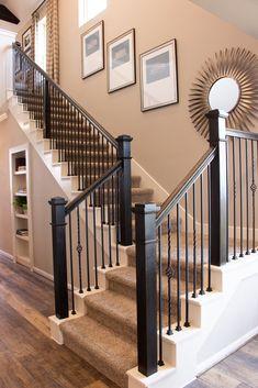 Iron Staircase Railing, Interior Stair Railing, Wood Handrail, Stair Railing Design, Iron Balusters, Wood Railings For Stairs, Banisters, Black Banister, Hardwood Stairs