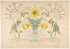 Anonymous, French, 19th century. Flower Design: Daffodils and Calla Lilies, 19th century. The Metropolitan Museum of Art, New York. Purchase, Leon Lowenstein Foundation Inc. Gift, 1977 (1977.585.1) #spring