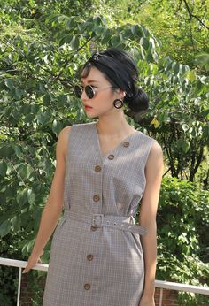 Belted Step Hem Button-Down Dress   STYLENANDA