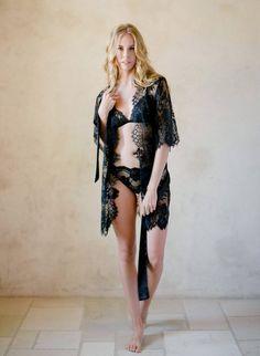 3b4796699d Swan Queen Bridal lace robe in Boudoir Black style 102SH