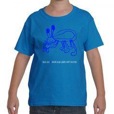 Kid's Blue Legs Comic T-Shirt:  Blue Legs shoots blue lasers from his eyes.