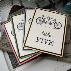 Tandem Bike Wedding Reception Table Numbers