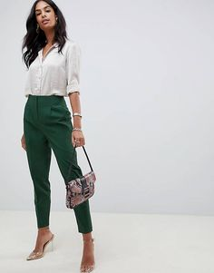 Search for cigarette pants at ASOS. Shop from over styles, including cigarette pants. Discover the latest women's and men's fashion online Summer Work Outfits, Casual Work Outfits, Work Attire, Work Casual, Stylish Outfits, Fashion Outfits, Summer Business Outfits, Casual Office, Office Chic
