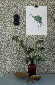Bird Posters by Swedish pattern designer Emma von Brömssen // Avenue Lifestyle Tapestry Wallpaper, Hallway Wallpaper, Interior Wallpaper, Pattern Wallpaper, Swedish Wallpaper, Interior Design Boards, Interior Paint Colors, Paint Colours, William Morris Tapet