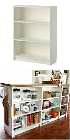30 Coolest IKEA Hacks We've Ever Seen Turn you short Billy bookcase into a double-duty kitchen island using this IKEA hack!Turn you short Billy bookcase into a double-duty kitchen island using this IKEA hack! Ikea Furniture, Furniture Makeover, Kitchen Furniture, Furniture Ideas, Furniture Design, Luxury Furniture, Furniture Stores, Ikea Makeover, Furniture Cleaning