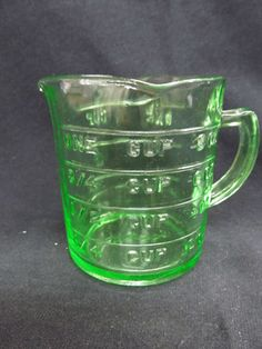 Vintage Kellogg's Advertising Green Depression Glass Measuring Cup Give Away