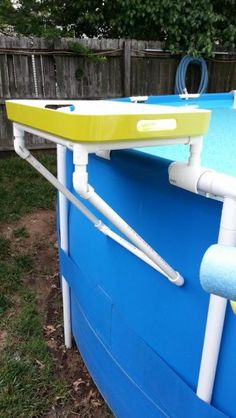 PVC Tray Holder For Intex Metal Frame Pool (I Should Patent This!) Pvc Pool, Pool Fun, Beach Pool, Piscina Intex, Pool Storage, Above Ground Pool Landscaping, Landscaping Rocks, Landscaping Design, Free Pool