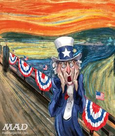 "In honor of Edvard Munch's painting ""The Scream"" setting an auction sales record of $119 million, MAD posted parodies."