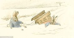 Iconic: Beatrix Potter's elegant watercolours of her beloved rabbits, such as the one pictured, helped make her books an enduring success