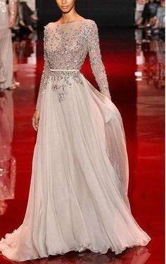 Champagne A Line Backless Chiffon Evening Dress With Long Sleeves