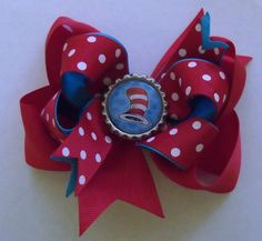 Hair Bow- Cat in the Hat- Bottle Cap Hair Bow