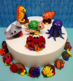Fondant Sea Animals Complete 3D Cake Topper Set -Turtle, Sting Ray, Fish, Sea Horse, Octopus, Crab  -  Cherry Bay Cakes