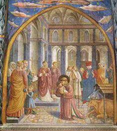 Kerstmis in Greccio - Franciscuscyclus, Gozzoli, Montefalco.