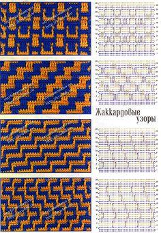 crochet stitches Photo from album on Tapestry Crochet Patterns, Crochet Motifs, Crochet Diagram, Crochet Stitches Patterns, Crochet Chart, Mosaic Patterns, Knitting Stitches, Stitch Patterns, Knitting Patterns