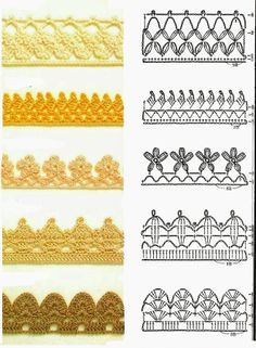 #Crochet #Stitches for edgings. I especially like the 4th pattern down with those charming flowers. I can think of so many uses for that this spring!