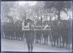 Return of the First Leicestershires May 1919 Glass plate negative Baden Powell, Outdoor Steps, General Hospital, Wwi, Belgium, Castle, Plate, Dishes, Plates