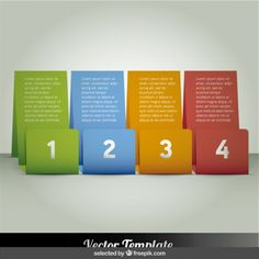 Four colored banners infographic Free Vector