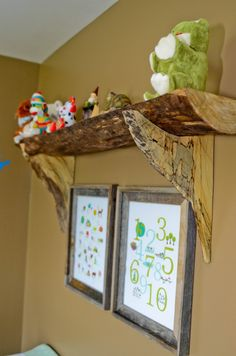 DIY Split Wood Shelf - perfect touch to this rustic nursery!