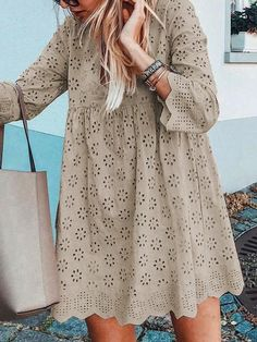 Eyelet V Neck Women Dresses Going Out Casual Cotton Dresses Fantacylady Summer Dresses Long Sleeve 1 Casual Cotton Dress, Cotton Dresses, Casual Dresses, Maxi Dresses, Party Dresses, Tribal Skirts, Most Beautiful Dresses, Awesome Dresses, Mein Style