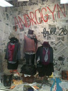 Visual merchandising of a thrift store window. http://mielkeunt.files.wordpress.com/2011/05/window-21.jpg