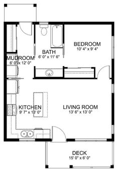 Guest House Plans, Small House Floor Plans, Cottage Style House Plans, Cabin Floor Plans, Cottage Style Homes, Tiny House Cabin, Craftsman Style House Plans, Tiny House Living, Tiny House Design