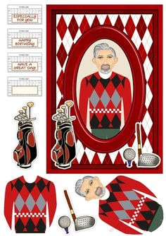 An A5 card topper with extra layers and choice of sentiment tags featuring a man in an argyle jumper on an argyle design background with golfing accessories decoration.  Matching insert available separately.
