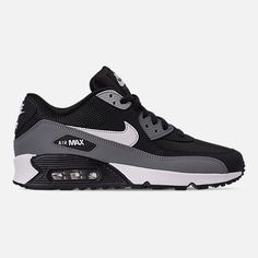 Right view of Men's Nike Air Max 90 Essential Casual Shoes in Black/White/Cool Grey/Anthracite Casual Sneakers, Air Max Sneakers, Casual Shoes, Sneakers Nike, Mens Nike Air, Nike Men, Nike Air Max, Nike Basketball Shoes, Nike Shoes