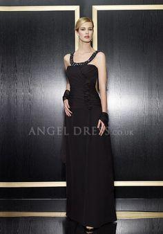 A line Sleeveless Straps Zipper Back Floor Length Chiffon Evening Dress