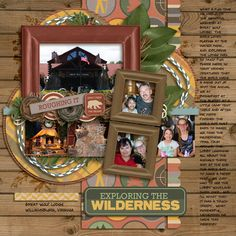 Exploring the Wilderness - Scrapbook.com  I love the notes area on the right side!