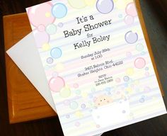 Baby Bubbles Shower Invite by amstudioartanddesign on Etsy, $15.00