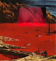 'The general zapped an angel' c.1970 - Karel Thole || Lilith's head crumbles in the distance, while Shinji emerges from a red sea. The Third Impact and Instrumentality come to an end.