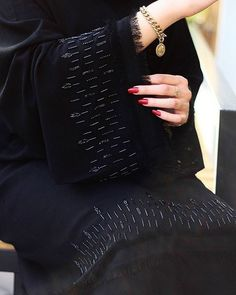 Beaded embroidered abaya is wonderful accent for your stunning look and groomed your modern style. Abaya Noir, Mode Abaya, Mode Hijab, Abaya Fashion, Muslim Fashion, Modest Fashion, Fashion Dresses, Fashion Shoot, Abaya Designs Dubai