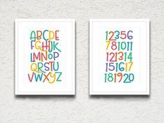 Playroom Decor, ABC, 123, Nursery Decor, Playroom Wall Art, Alphabet Art, Number Art, Classroom Artwork, Classroom Printables, Kids Room by printshopstudio on Etsy