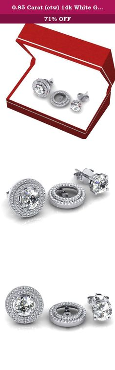 0.85 Carat (ctw) 14k White Gold White Diamond Round Shape Double Row Removable Jackets for Stud Earrings. This lovely diamond Jackets feature 0.85 ct white diamonds in Prong setting. All diamonds are sparkling and 100% natural. All our products with FREE gift box and 100% Satisfaction guarantee. Only the jackets are for sale. Inner Diameter is 9 mm and Outer diameter is 15.5 mm. Can be fit with 8 mm Round Shape Center Diamond. SKU # K2038.