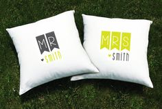 Personalized Mr./Mrs. pillowcase set in cute flag design. Available as bed or throw pillows.