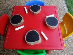 "Wooden disc blackboards by Janelle Talbot, image shared by Kinder Inspiration ("",) Nursery Activities, Literacy Activities, Activities For Kids, Crafts For Kids, Preschool Ideas, Outdoor Learning Spaces, Outdoor Education, Early Education, Outdoor School"