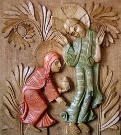 A presentation of the the woodcarvings of Fr. Philippe Péneau inspired by ancient Romanesque iconography. Noli Me Tangere, La Résurrection Du Christ, Romanesque Sculpture, Abstract Example, Marie Madeleine, Montreal Botanical Garden, Stone Masonry, Principles Of Art, Orthodox Icons