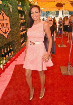 Celebrity Red Carpet Fashion | Oct. 13, 2014 | POPSUGAR Fashion.  Rosario Dawson at the Veuve Clicquot Polo Classic.