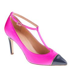 Everly satin T-strap pumps.  Love the color.(: